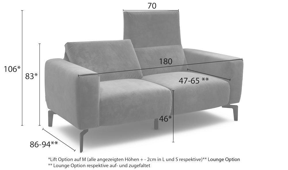 Maßanzeige des Cosy1 2-Sitzers